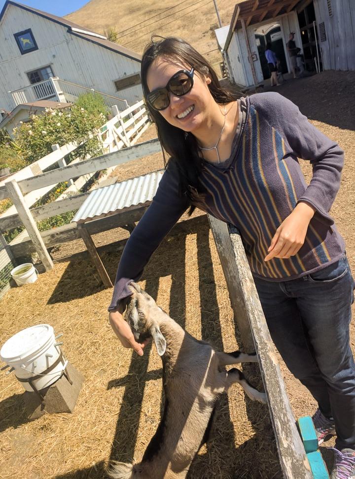 Anna at goat farm