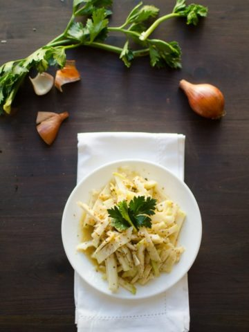 Celeriac Root with Honey Mustard Dressing -- You'll love this recipe inspired by Grandma Jo, passed down to us. It's an easy and delicious way to enjoy celeriac!   garlicdelight.com