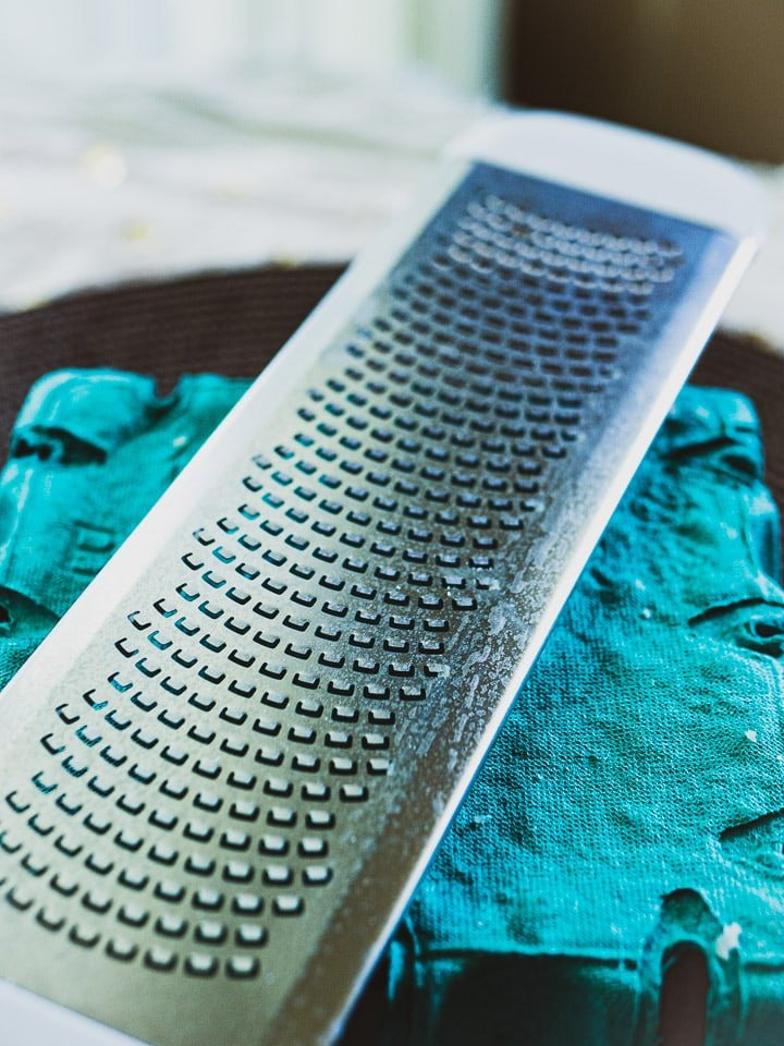 Close up look of the zest grater with emphasis on the fine teeth