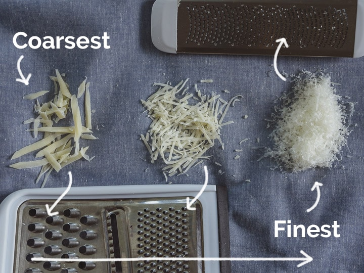 A comparison of the coarsest and medium-sized grating of cheese from a regular grater compared to the fine grating in a zest grater
