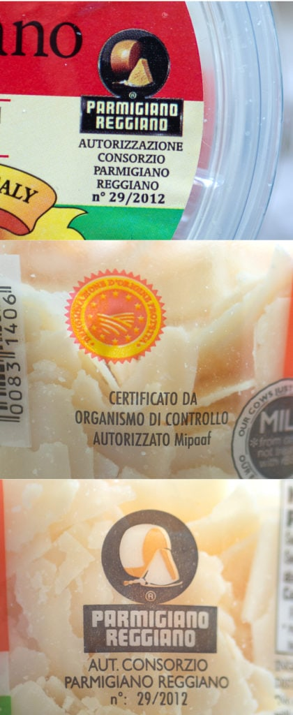 3 images of the Consortium of Parmigiano-Reggiano seal to certify the authenticity of the cheese