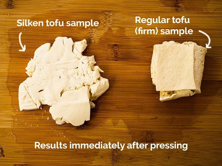 A cube of silken tofu and regular firm tofu side by side showing results after pressing