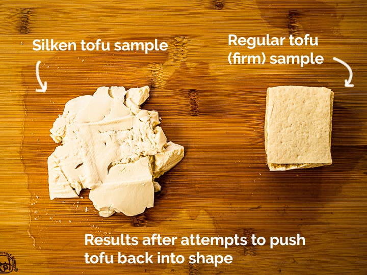 A cube of silken tofu and regular firm tofu side by side showing results after reshaping