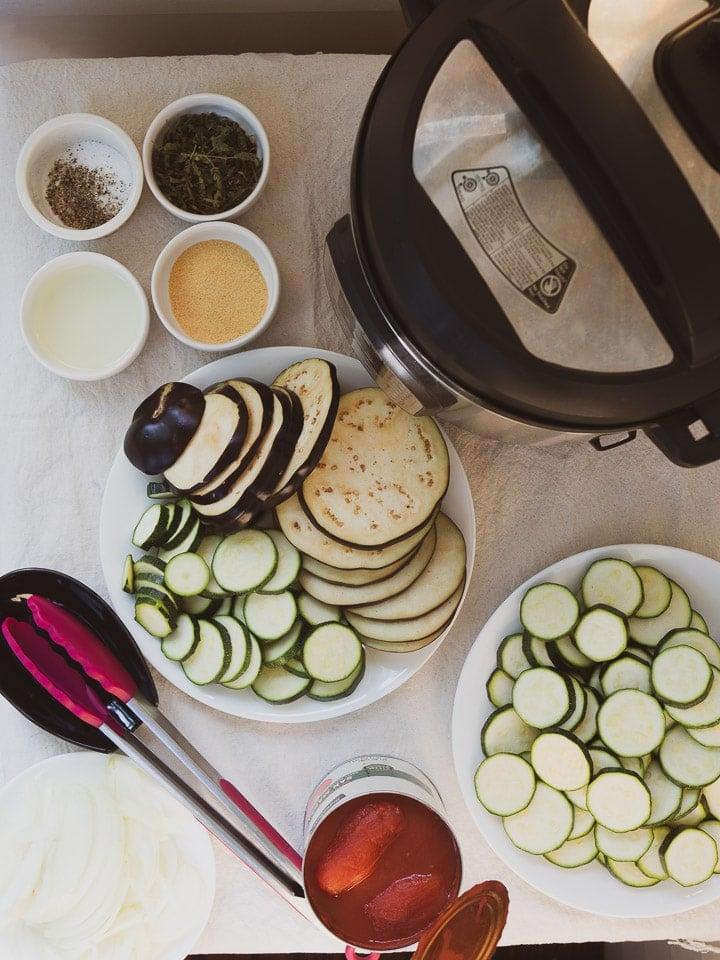 Overhead view of mise en place for instant pot ratatouille recipe