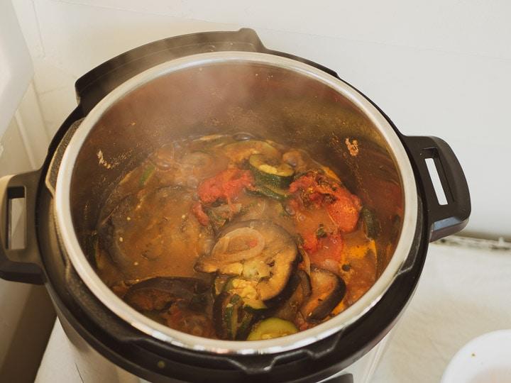 Instant Pot ratatouille with lid off on sauté mode