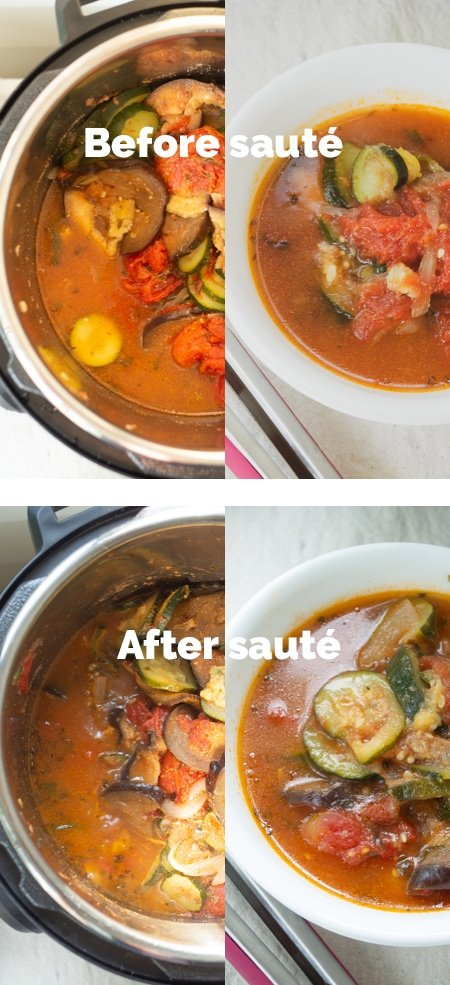 Close up comparison of ratatouille dish before sauté and after sauté to show the difference in liquid levels