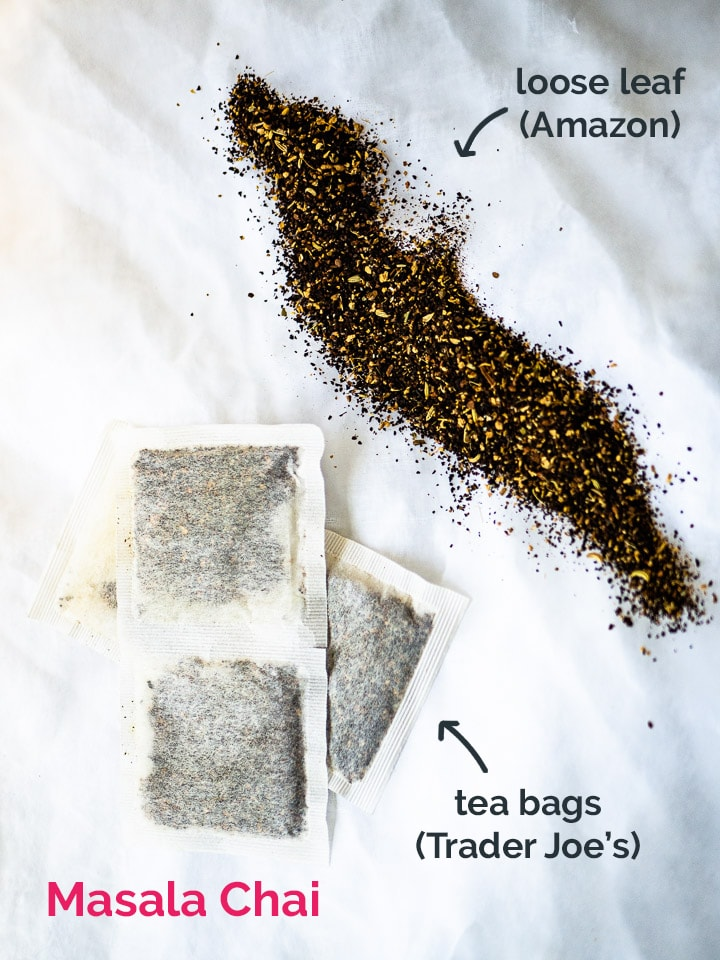 Side by side comparison of loose leaf chai next to tea bags of chai