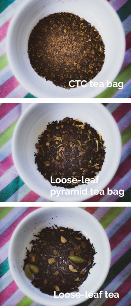 Comparison of 3 types of dry tea with CTC tea, loose-leaf tea from a tea bag, and loose leaf side by side