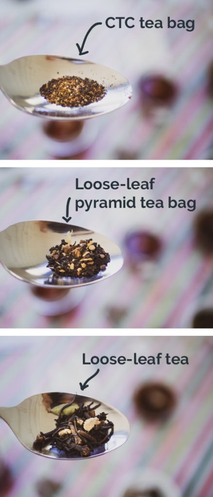 Comparison of 3 types of tea on a tablespoon with CTC tea, loose-leaf tea from a tea bag, and loose leaf with dry and brewed side by side