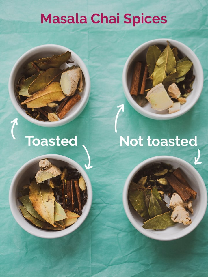 Close up comparison of toasted versus not toasted spices in 4 bowls for the chai taste test