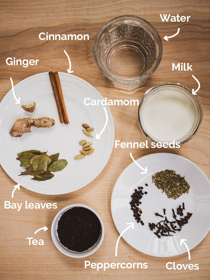A list of all ingredients for the masala chai recipe with annotations