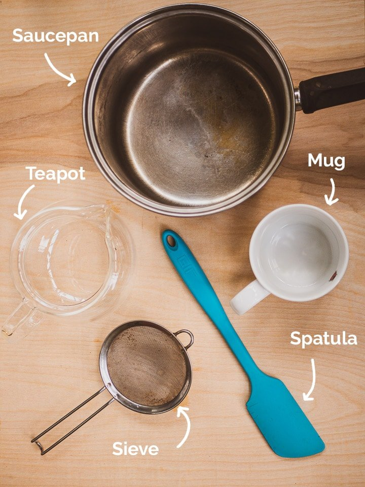 A list of all equipment required for the masala chai recipe with annotations
