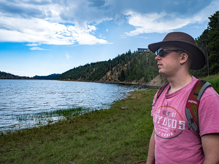 Alex in front of the lake at Nederland, CO looking towards the water