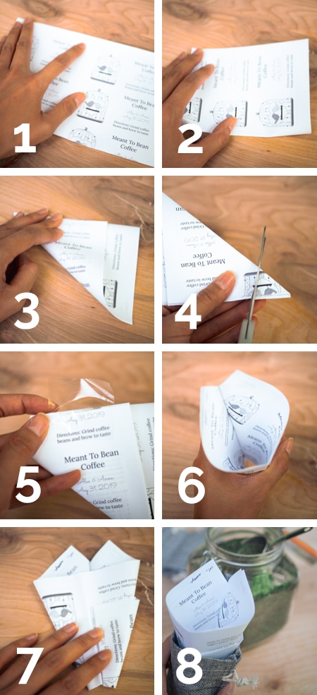 Collage showing 8-step process of folding paper to make a DIY funnel in the Garlic Delight wedding favors tutorial