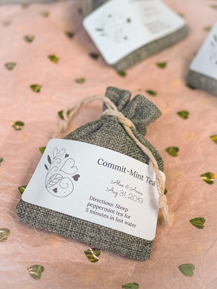 Close up look of a bag of Commit-Mint Tea wedding favor made in the Garlic Delight wedding favors tutorial