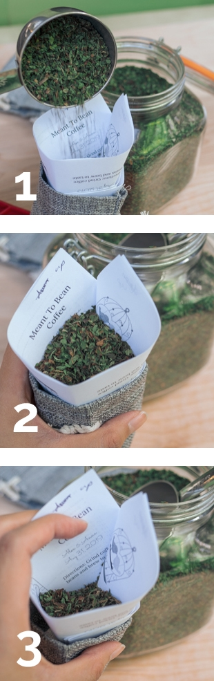 Collage showing 3-step process of filling a bag with tea using the DIY funnel in the Garlic Delight wedding favors tutorial