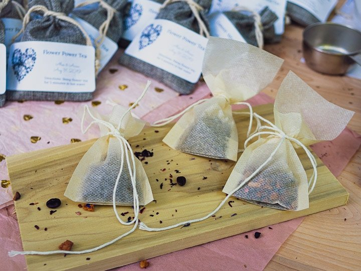 3 tea bags with tea and coffee inside for Garlic Delight DIY wedding favor tutorial