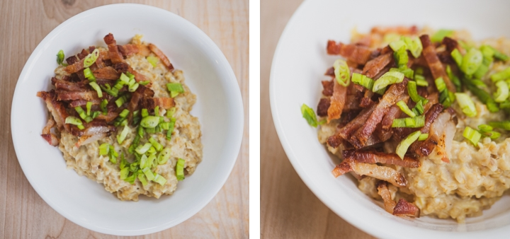 Side-by-side zoomed-out and zoomed-in view of sliced bacon with green onions on top of savory oatmeal for inspiration for savory oatmeal recipe