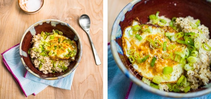 Side-by-side zoomed-out and zoomed-in view of a fried egg and green onions on top of savory oatmeal for inspiration in the savory oatmeal recipe