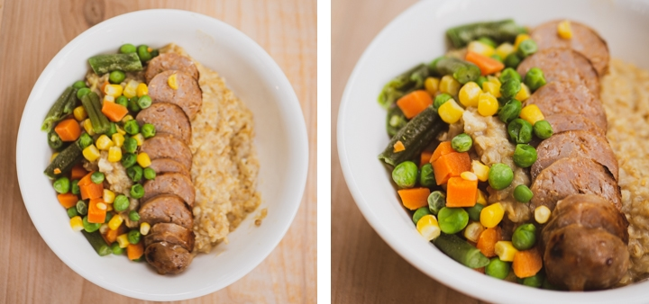 Side-by-side zoomed-out and zoomed-in view of sliced sausage with string beans, carrots, peas, and corn on top of savory oatmeal for inspiration for savory oatmeal recipe