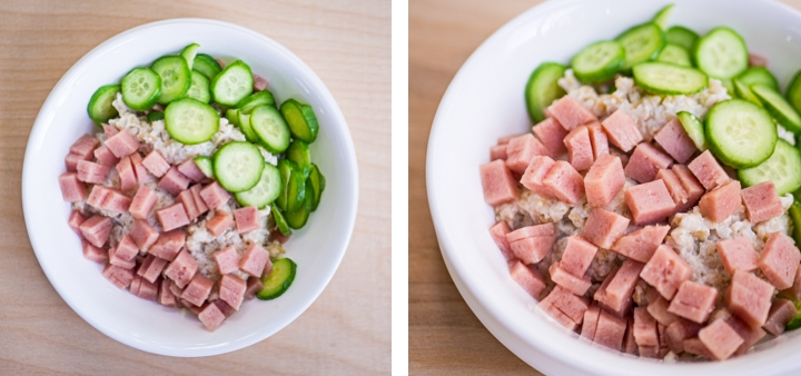 Side-by-side zoomed-out and zoomed-in view of sliced Persian cucumbers with cubed spam on top of savory oatmeal for inspiration for the savory oatmeal recipe