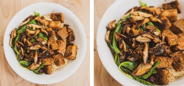 Side-by-side zoomed-out and zoomed-in view of sliced mushroom with steak cubes and spinach on top of savory oatmeal for inspiration for the savory oatmeal recipe