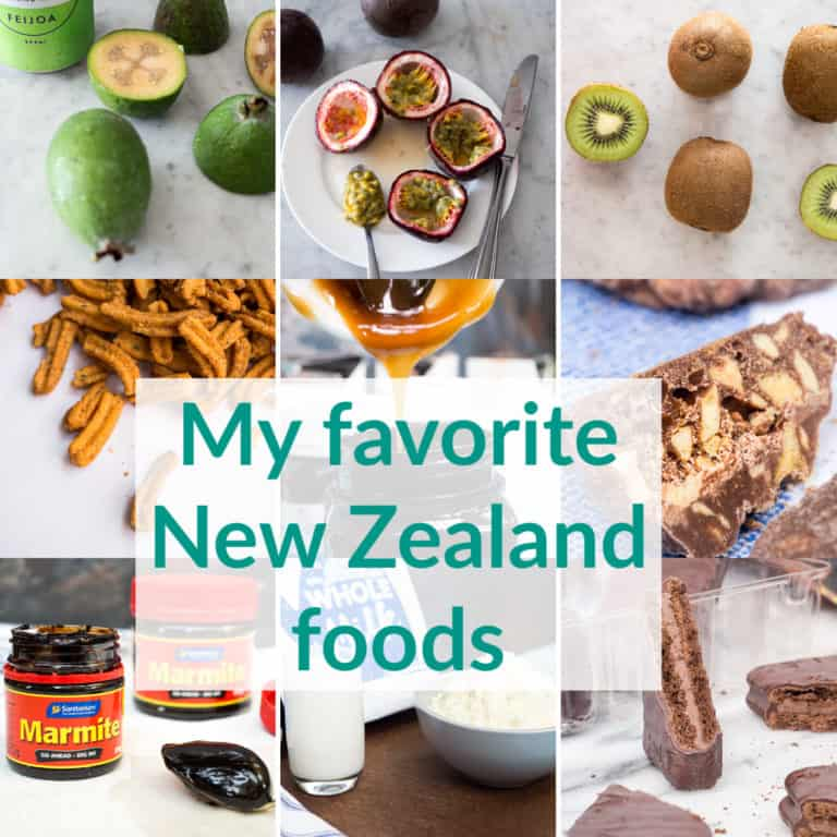 A collage of 9 images of foods from New Zealand