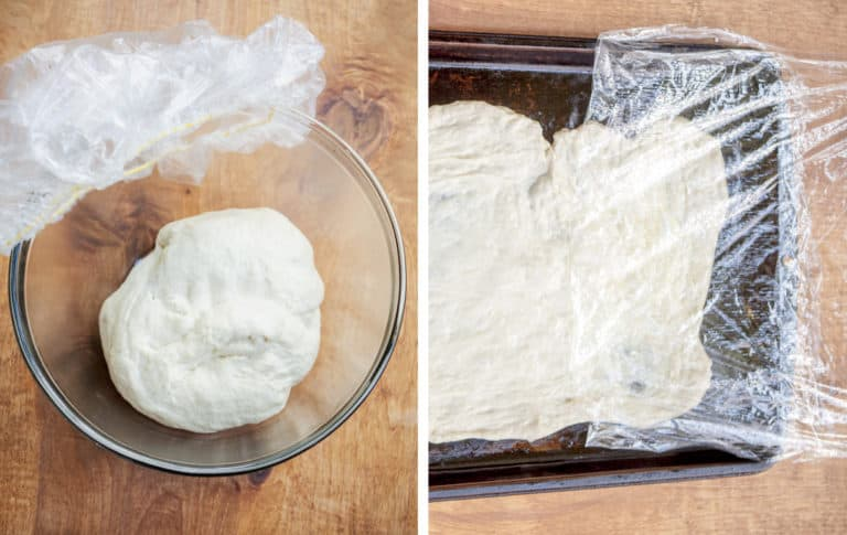 A diptych showing dough covered with plastic wrap