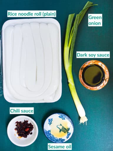 Ingredients for rice noodle rolls with green onion recipe