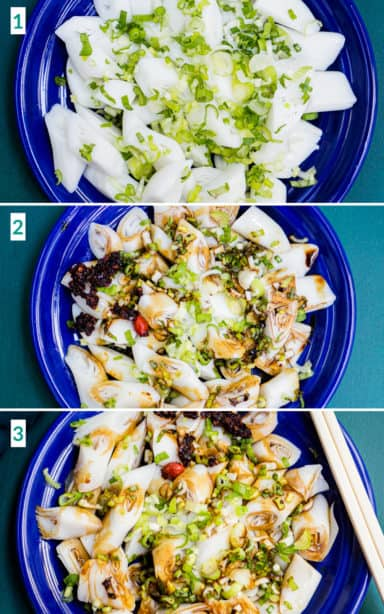 Image collage of 3 steps to making rice noodle rolls including mixing the sauces