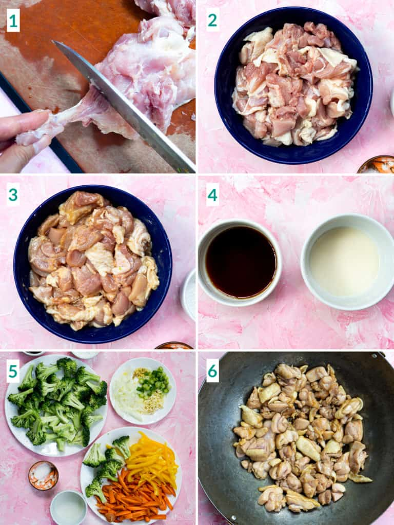 Image collage of 6 steps to prepare chicken and chop vegetables