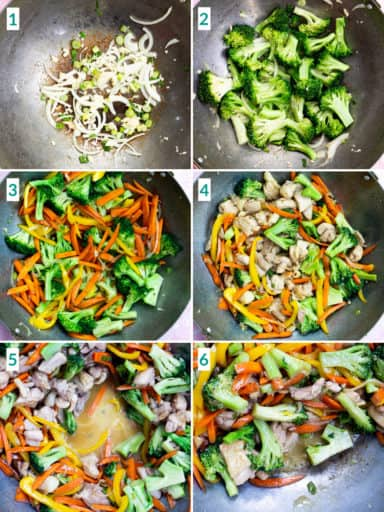 Image collage of 6 steps to stir fry vegetables and chicken