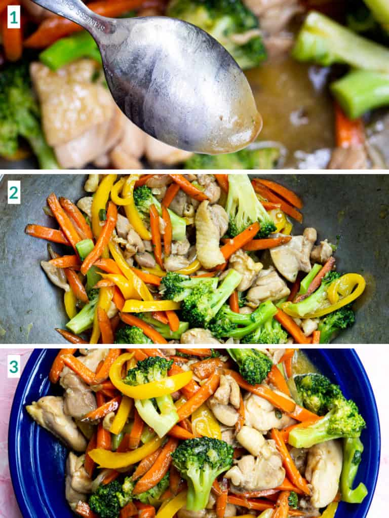Image collage of 3 steps to finish the chicken stir fry