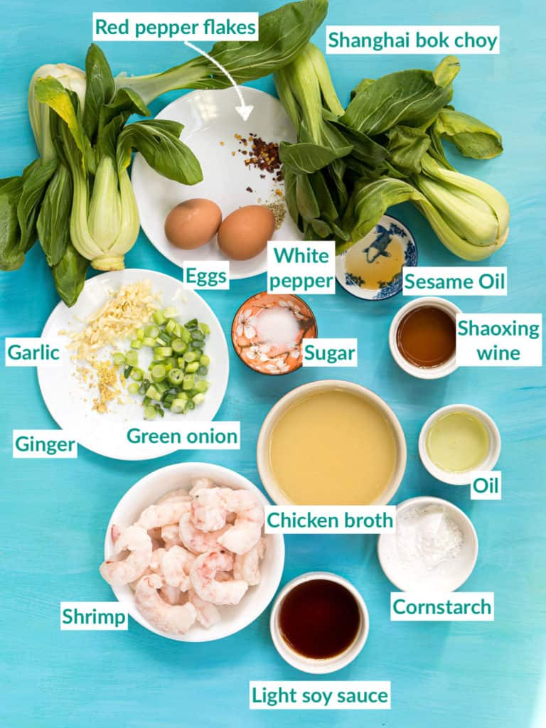 All the ingredients needed for making the shrimp with lobster sauce recipe