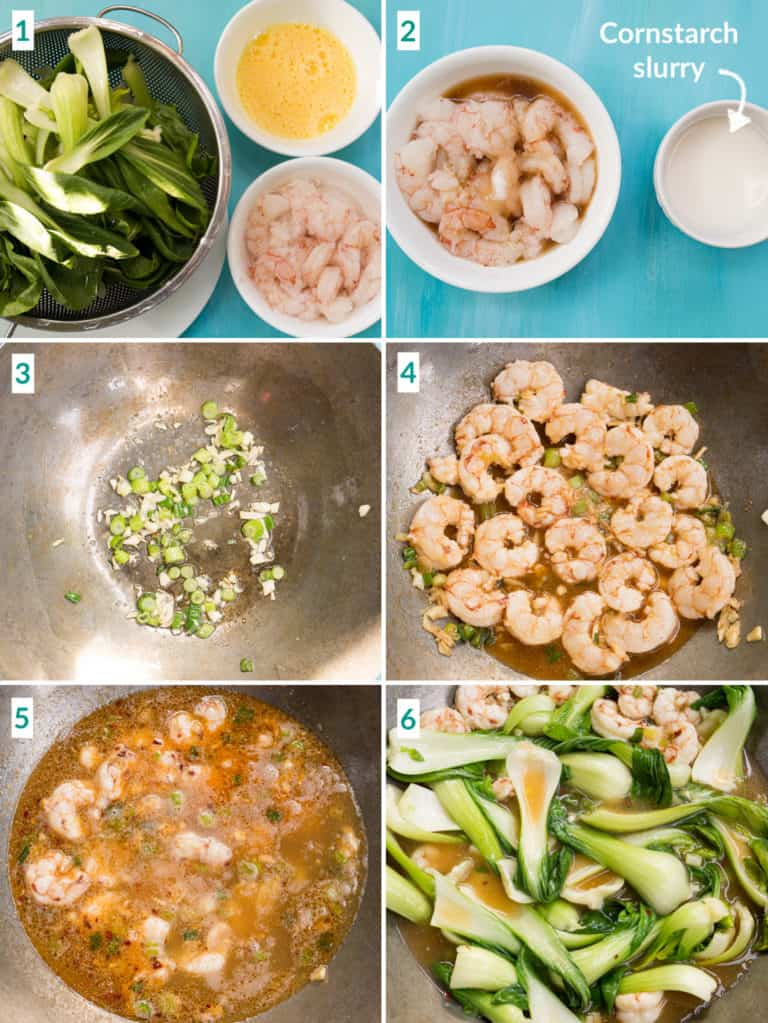 A collage of 6 images to show how to add the shrimp to the pan to make shrimp with lobster sauce