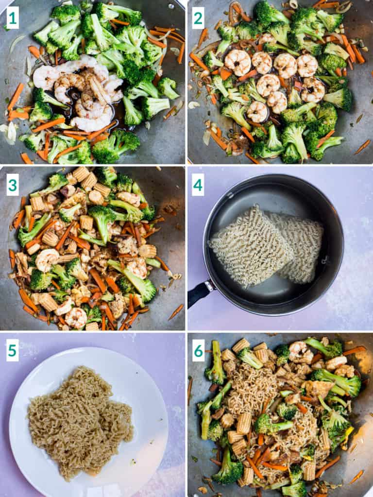 Image collage of 6 steps to stir frying shrimp and vegetables with instant ramen