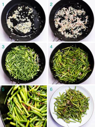 A collage of 6 images to show the process of sautéing garlic scapes with bacon