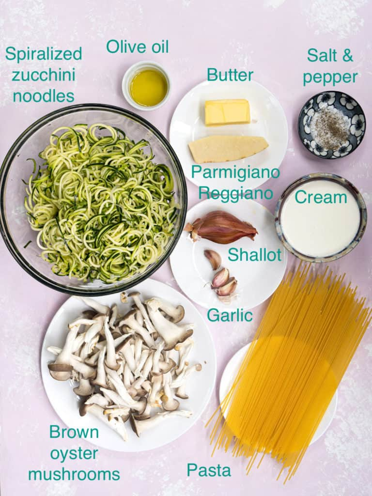 All the ingredients to make creamy mushroom pasta recipe