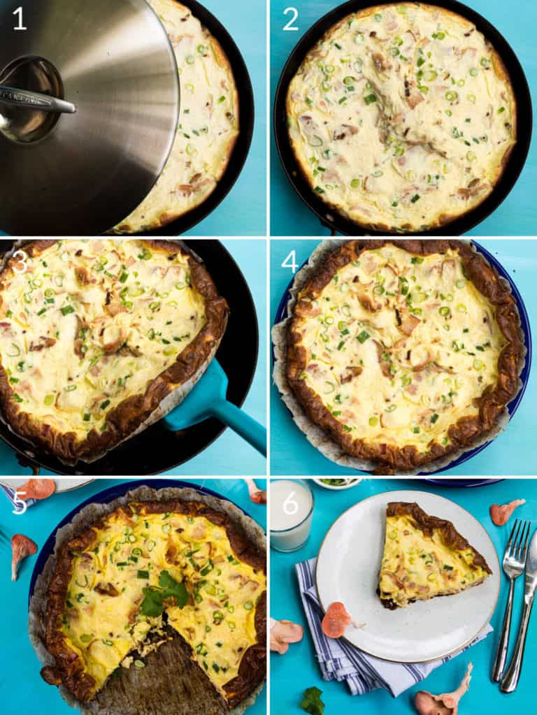 A collage of 6 images to show cooking the mushroom quiche