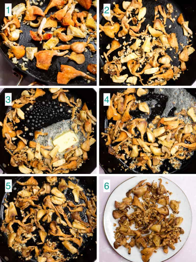 A collage of 6 images to show the process of caramelizing oyster mushrooms in garlic butter