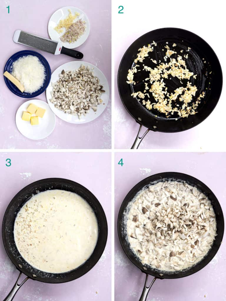 A collage of 4 images to show the process of sautéing mushrooms in garlic and cream