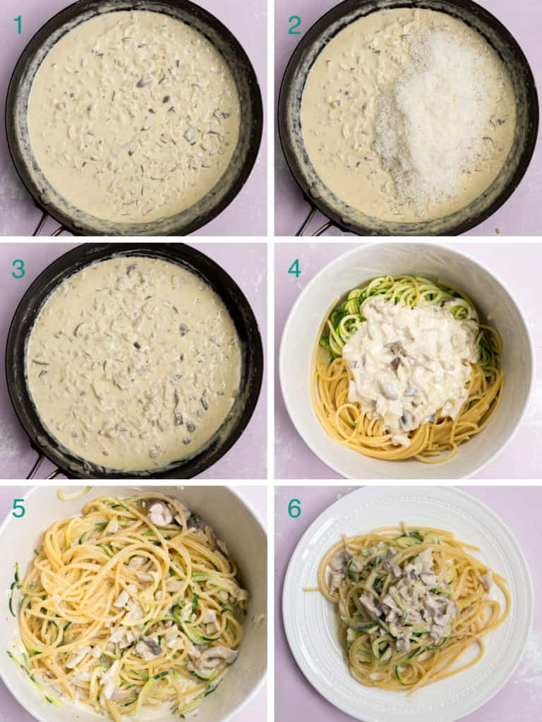 A collage of 6 images to show the process of adding Parmigiano-Reggiano to the pasta sauce