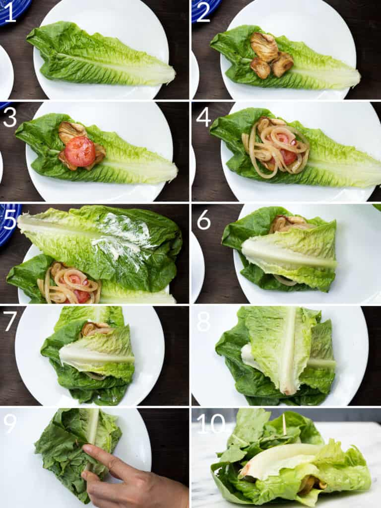 """A collage of 10 images showing how to fold lettuce to make a """"bun"""" for a mushroom burger"""
