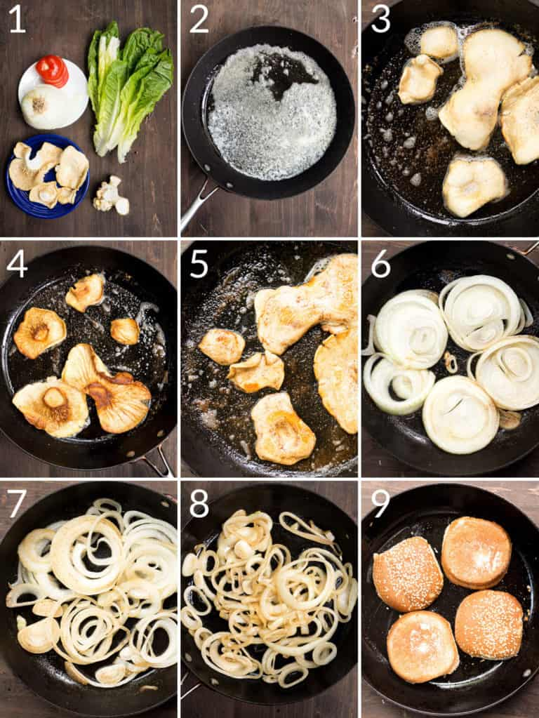 A collage of 9 images showing how to cook the mushrooms in butter to make a meatless burger
