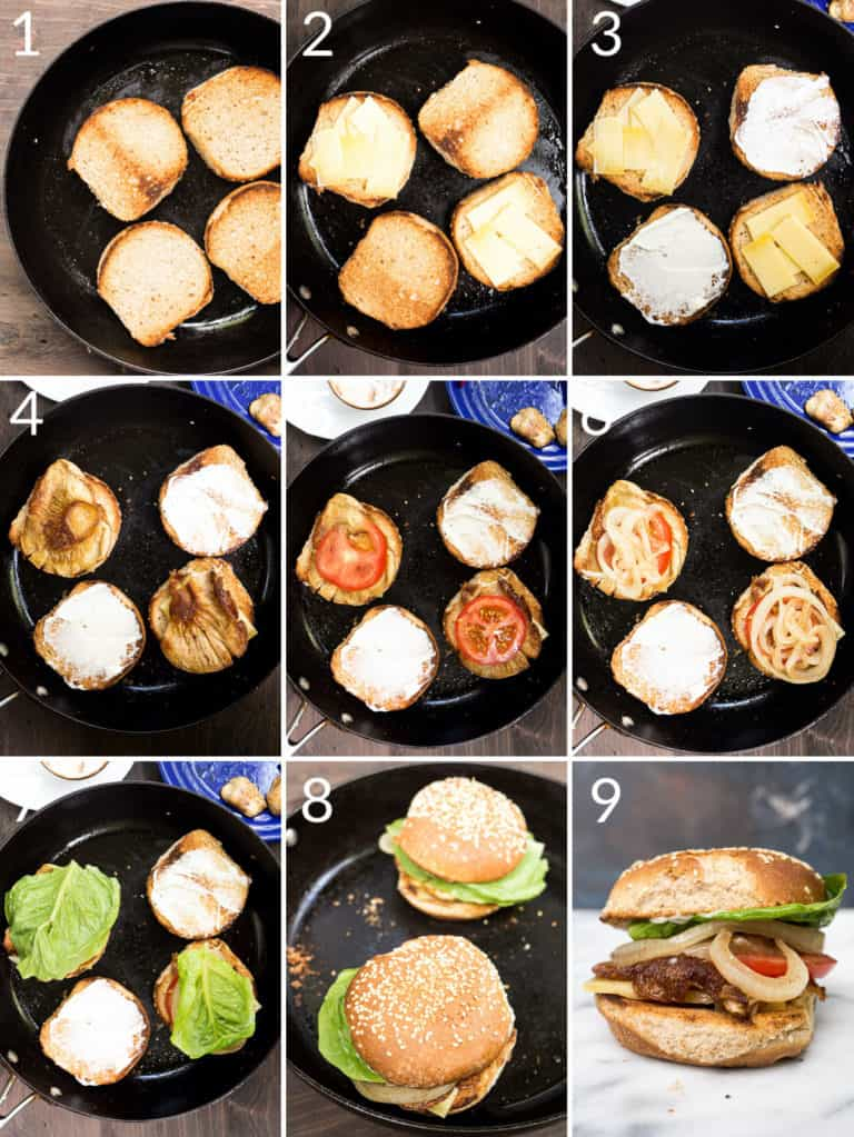 A collage of 9 images showing how to assemble a mushroom burger