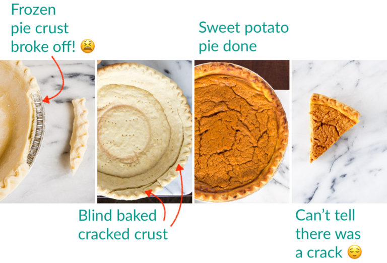 A collage of 4 images showing a cracked frozen pie crust and how the sweet potato pie turned out