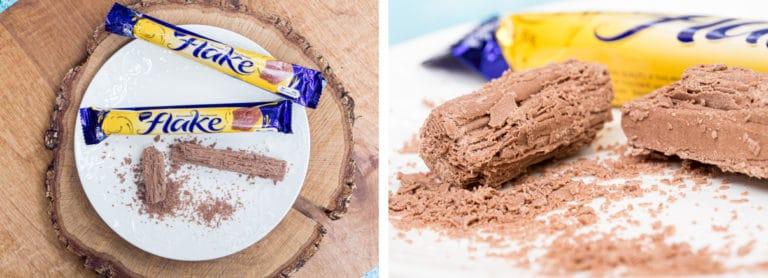 2 Cadbury Flake chocolate bars on a white plate