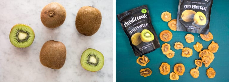Whole and cut green and gold kiwifruit on a green background