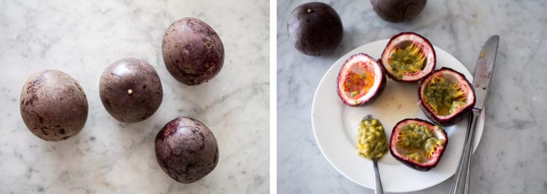Passionfruit whole and cut open on a marble background