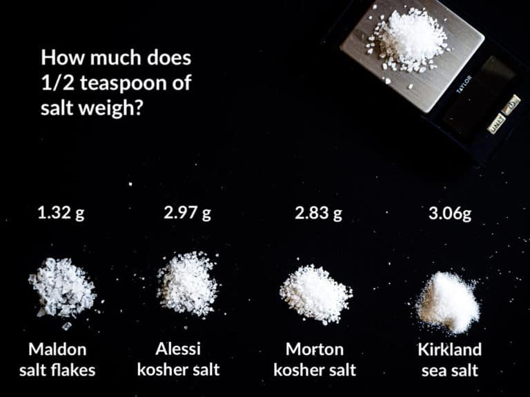 4 types of salt measuring 1/2 teaspoon with different weights